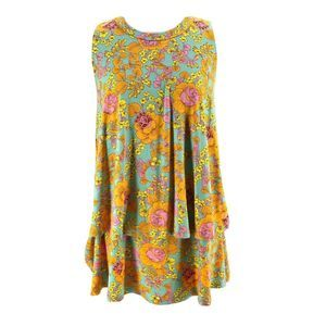 Agnes & Dora Green Floral Tunic Blouse XS NEW